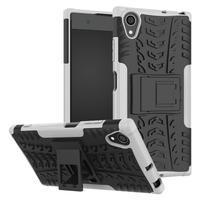 Kickstand odolný hybridný obal na mobil Sony Xperia XA1 Plus - biely