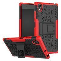 Kickstand odolný hybridný obal na mobil Sony Xperia XA1 Plus - červený