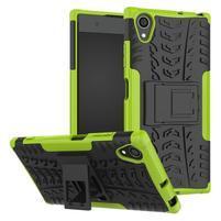 Kickstand odolný hybridný obal na mobil Sony Xperia XA1 Plus - zelený