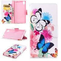 Pattern PU kožené peněženkové puzdro na mobil Sony Xperia XA1 Plus - motýle a kvety