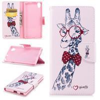 Pattern PU kožené peněženkové puzdro na mobil Sony Xperia XA1 Plus - žirafa