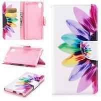 Pattern PU kožené peněženkové puzdro na mobil Sony Xperia XA1 Plus - slnečnica