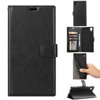 Crazy PU kožené peněženkové puzdro na mobil Sony Xperia XA1 Plus - čierny