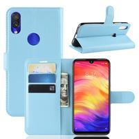 Litchi PU kožené peněženkové puzdro na mobil Xiaomi Redmi Note 7 - modré