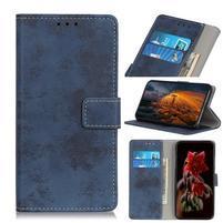 Vintage PU kožené peněženkové puzdro pre Huawei Y6 (2019) - modré
