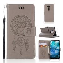 Dream PU kožené peněženkové puzdro na Nokia 8.1 - šedé