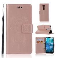 Dream PU kožené peněženkové puzdro na Nokia 8.1 - růžovozlaté