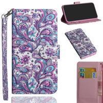 Decor PU kožené peněženkové puzdro pre Nokia 8.1 - kašmírová kvetina