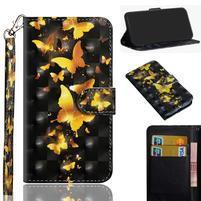 Decor PU kožené peněženkové puzdro pre Nokia 8.1 - zlatý motýľ