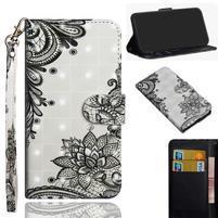 Decor PU kožené peněženkové puzdro pre Nokia 8.1 - čipkovaná kvetina