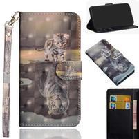 Decor PU kožené peněženkové puzdro pre Nokia 8.1 - mačka