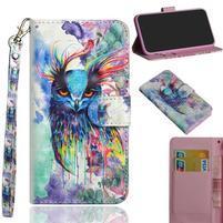 Decor PU kožené peněženkové puzdro pre Nokia 8.1 - farebná sova