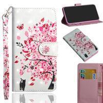 Decor PU kožené peněženkové puzdro pre Nokia 8.1 - rozkvitnutý strom
