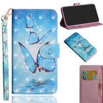 Decor PU kožené peněženkové puzdro pre Nokia 8.1 - modrý motýľ