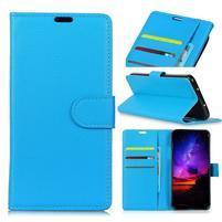 Litchi PU kožené peněženkové puzdro s textúrou na Nokia 9 PureView - modrý
