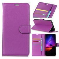 Litchi PU kožené peněženkové puzdro s textúrou na Nokia 9 PureView - fialový