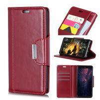 Wallet PU kožené peněženkové puzdro na Nokia 9 PureView - červené