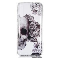 Patty gélový obal na Samsung Galaxy A70 - lebka a kvety