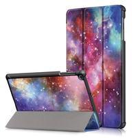 Print PU kožené puzdro pre tablet Samsung Galaxy Tab 10.1 (2019) T515 / T510 - vesmír