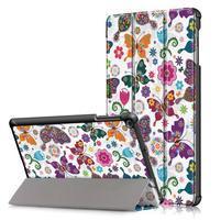 Print PU kožené puzdro pre tablet Samsung Galaxy Tab 10.1 (2019) T515 / T510 - motýľ