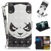 Decor PU kožené peněženkové puzdro na Sony Xperia 10 Plus - naštvaná panda