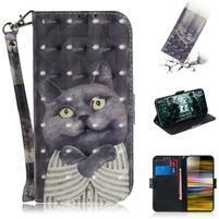 Decor PU kožené peněženkové puzdro na Sony Xperia 10 Plus - šedivá mačka