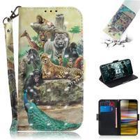 Decor PU kožené peněženkové puzdro na Sony Xperia 10 Plus - zvieratá