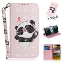 Decor PU kožené peněženkové puzdro na Sony Xperia 10 Plus - roztomilá panda
