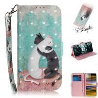 Decor PU kožené peněženkové puzdro na Sony Xperia 10 Plus - objímajúci sa mačky