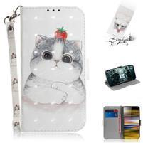 Decor PU kožené peněženkové puzdro na Sony Xperia 10 Plus - roztomilá biela mačka