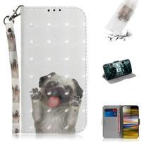 Decor PU kožené peněženkové puzdro na Sony Xperia 10 Plus - pes mávajúce labkami