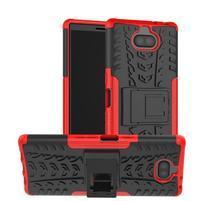 Kick odolný hybridný obal na Sony Xperia 10 Plus - červený