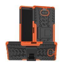 Kick odolný hybridný obal na Sony Xperia 10 Plus - oranžový