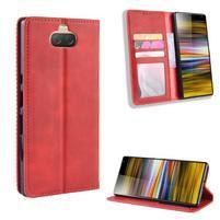Vintage PU kožené peněženkové puzdro na Sony Xperia 10 Plus - červené