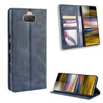 Vintage PU kožené peněženkové puzdro na Sony Xperia 10 Plus - modré