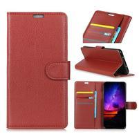 Litchi PU kožené peněženkové puzdro na Sony Xperia L3 - hnedé