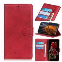 Matte PU kožené peněženkové puzdro na Xiaomi Redmi 7 - červené