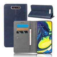 Closure PU kožené peněženkové puzdro na mobil Samsung Galaxy A80 / A90 - modré