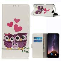 Patt PU kožené peněženkové púzdro pre mobil Samsung Galaxy A80 / A90 - sovie rodinka