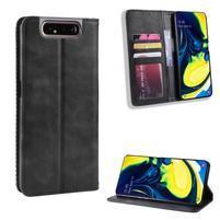 Closure PU kožené peněženkové puzdro na mobil Samsung Galaxy A80 / A90 - čierne
