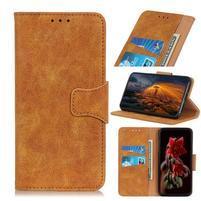 Vintage štýlové PU kožené peněženkové puzdro so stojanom pre mobil Samsung Galaxy A80 / A90 - hnedé