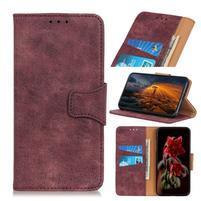 Vintage štýlové PU kožené peněženkové puzdro so stojanom pre mobil Samsung Galaxy A80 / A90 - vínové