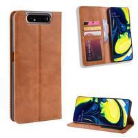 Closure PU kožené peněženkové puzdro na mobil Samsung Galaxy A80 / A90 - hnedé