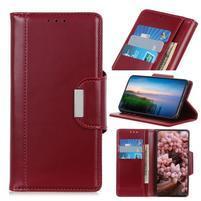 Stand elegantné PU kožené peněženkové púzdro pre mobil Samsung Galaxy A80 / A90 - červené