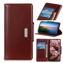 Stand elegantné PU kožené peněženkové púzdro pre mobil Samsung Galaxy A80 / A90 - tmavohnedej