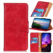 Horse PU kožené peněženkové puzdro na mobil Samsung Galaxy A80 / A90 - červené
