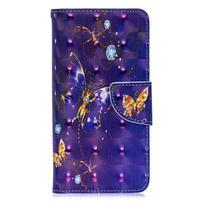 Decor PU kožené peněženkové púzdro na Samsung Galaxy A40 - živý motýľ