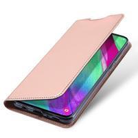DUX PU kožené puzdro na Samsung Galaxy A40 - růžovozlaté