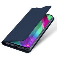 DUX PU kožené puzdro na Samsung Galaxy A40 - tmavomodrej