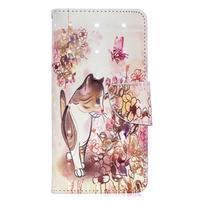 Decor PU kožené peněženkové púzdro na Samsung Galaxy A40 - mačka a kvety